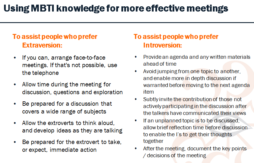 MBTI meetings 2