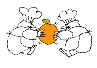 chefs fighting over orange